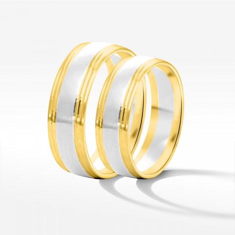 Obrączki ślubne z dwukolorowego złota 6mm półokrągłe