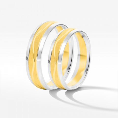 Obrączki ślubne z dwukolorowego złota 5mm półokrągłe