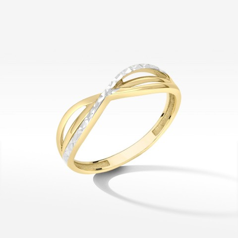 Pierścionek dwukolorowe złoto 16
