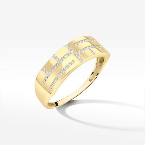 Złoty pierścionek z cyrkoniami 23