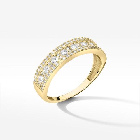 Złoty pierścionek z cyrkoniami rozm. 18