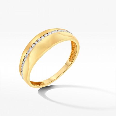 Złoty pierścionek żółty z cyrkoniami rozm. 17