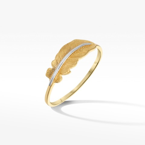 Złoty pierścionek listek rozm. 14