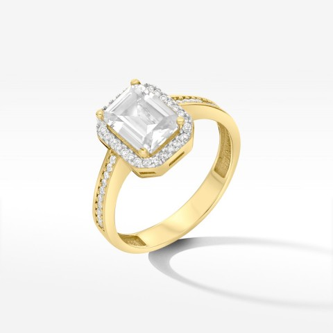 Złoty pierścionek z cyrkoniami rozm. 20