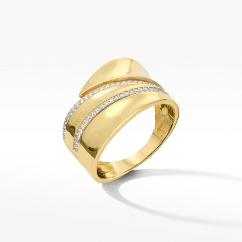 Złoty pierścionek z cyrkoniami rozm.17