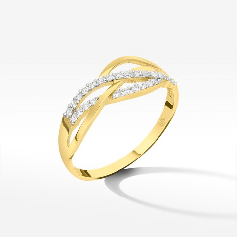Złoty pierścionek z cyrkoniami rozm.14