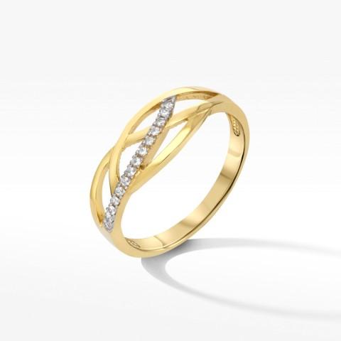 Złoty pierścionek z cyrkoniami rozm.16