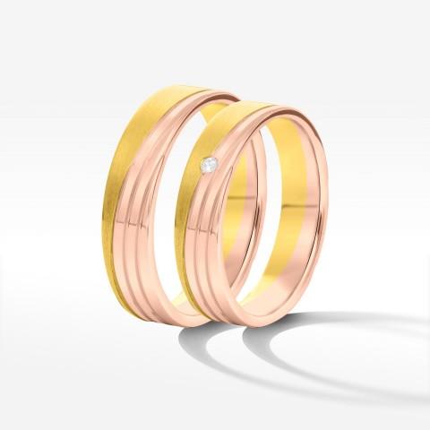Obrączki ślubne z dwukolorowego złota 4.5mm płaskie