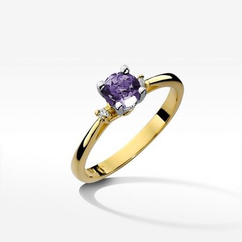 Złoty pierścionek z amestytem