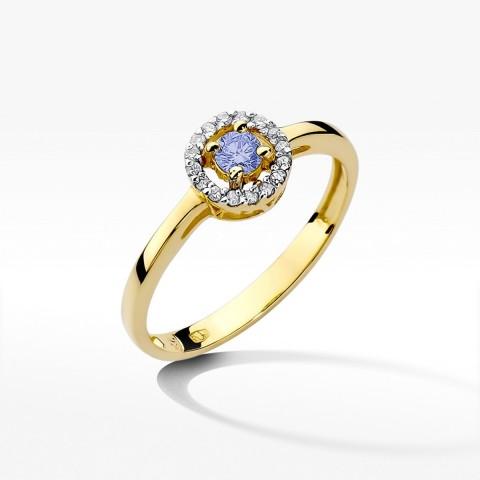 Pierścionek zaręczynowy z żółtego złota z tanzanitem