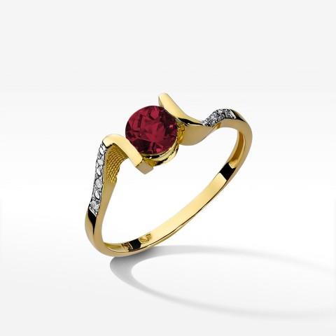 Złoty pierścionek zaręczynowy z granatem