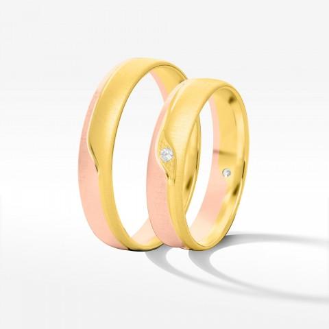 Obrączki ślubne z dwukolorowego złota 4.5mm półokrągłe