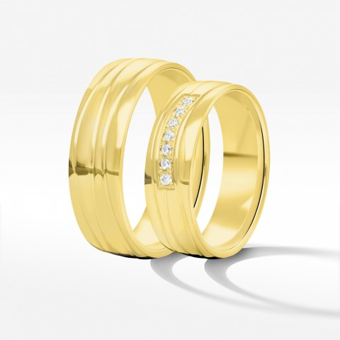 Obrączki ślubne z żółtego złota 6mm półokrągłe