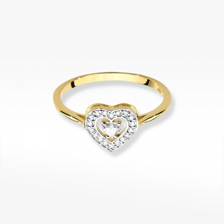 Pierścionek z brylantami w kształcie serca