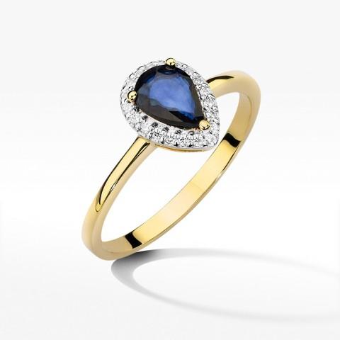 Złoty pierścionek z szafirem i brylantami