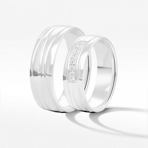 Obrączki ślubne z białego złota 6mm półokrągłe
