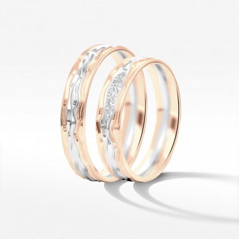Obrączki ślubne z różowo białego złota 5mm półokrągłe