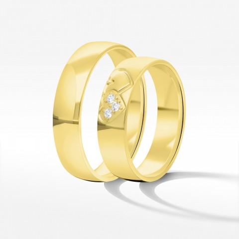 Obrączki ślubne z żółtego złota 5mm półokrągłe
