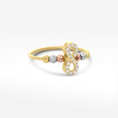 Złoty trójkolorowy pierścionek z symbolem nieskończoności i cyrkoniami