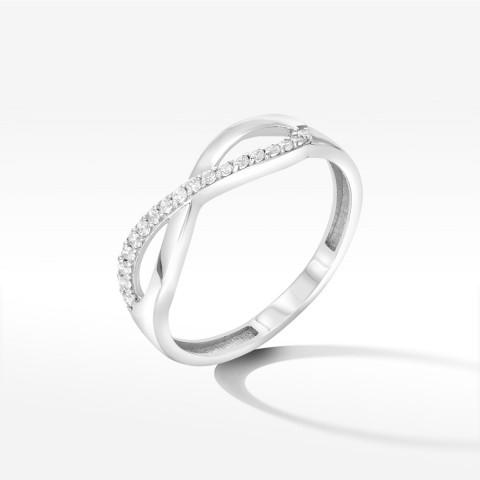 Złoty pierścionek symbol nieskończoności z białego złota