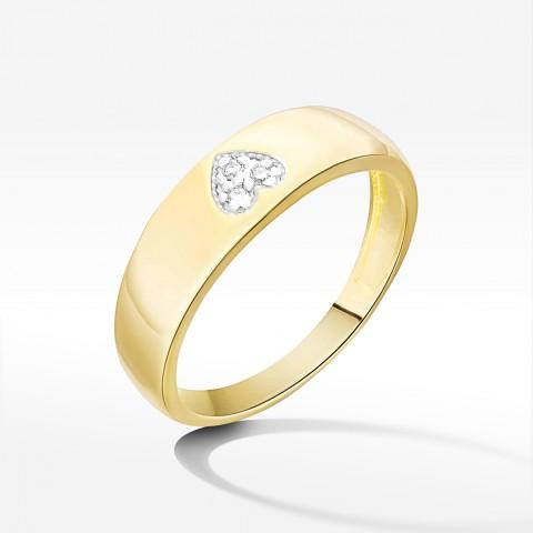 Pierścionek z symbolem serca z żółtego złota z brylantami