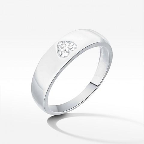 Pierścionek z symbolem serca z białego złota z brylantami
