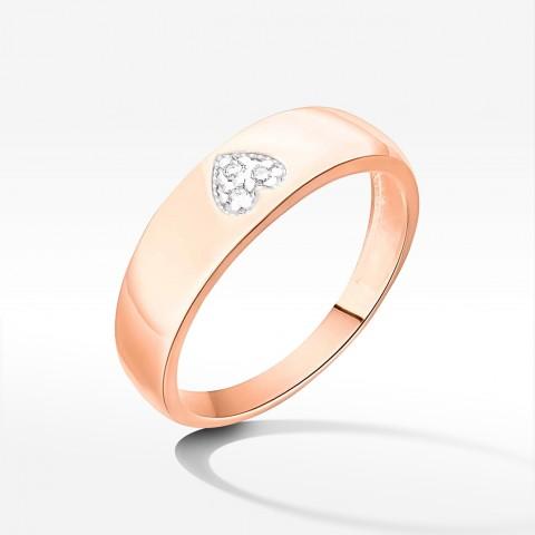 Pierścionek z symbolem serca z różowego złota z brylantami