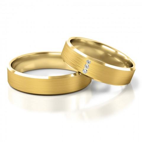 Obrączki ślubne z kamieniami z żółtego złota