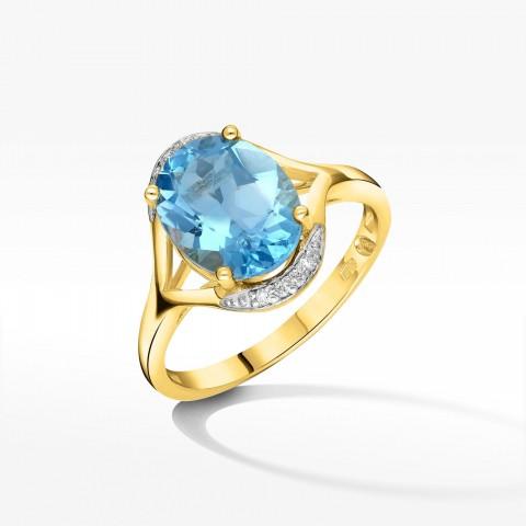 Pierścionek zaręczynowy z żółtego złota z topazem