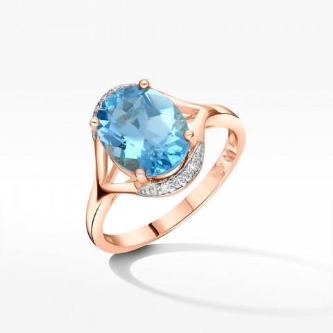 Pierścionek zaręczynowy z różowego złota z topazem