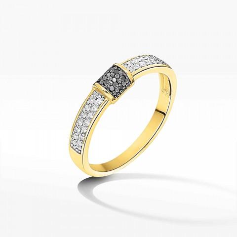 Pierścionek z żółtego złota z czarnymi brylantami