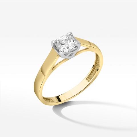 Klasyczny pierścionek ze złota z cyrkonią