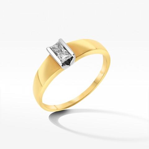 Subtelny pierścionek ze złota z cyrkonią