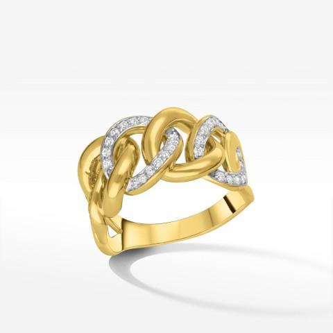 Fantazyjny pierścionek ze złota z cyrkoniami