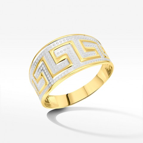 Szeroki pierścionek ze złota z greckim wzorem