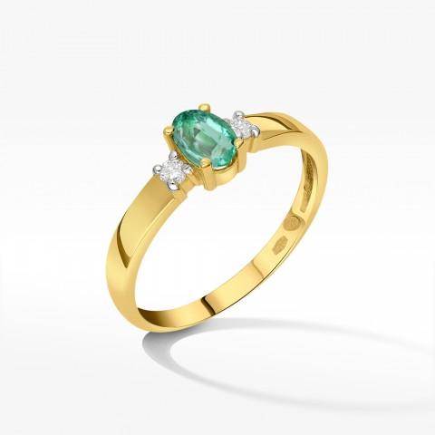 Złoty pierścionek zaręczynowy ze szmaragdem