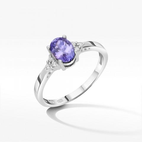 Zloty pierścionek zaręczynowy z brylantami i tanzanitem