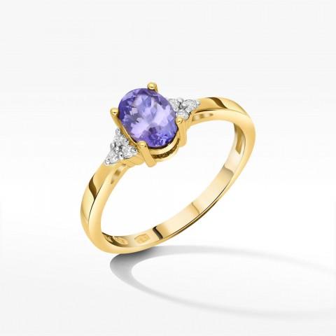 Złoty pierścionek z brylantami i tanzanitem