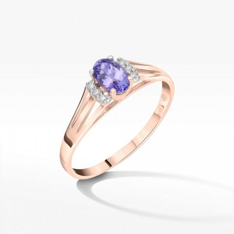 Złoty pierścionek zaręczynowy ze tanzanitem