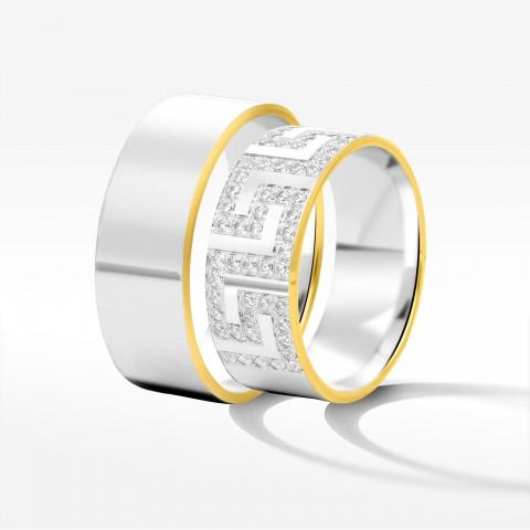 Obrączki ślubne z dwukolorowego złota 8mm fazowane