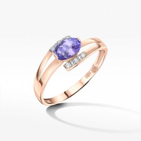 Złoty pierścionek zaręczynowy z tanzanitem