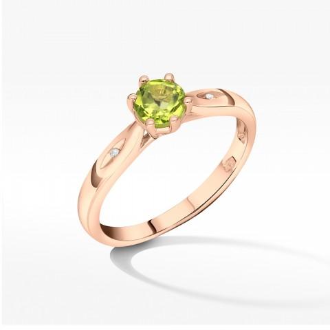 Złoty pierścionek z oliwinem
