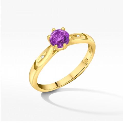 Złoty pierścionek z ametystem