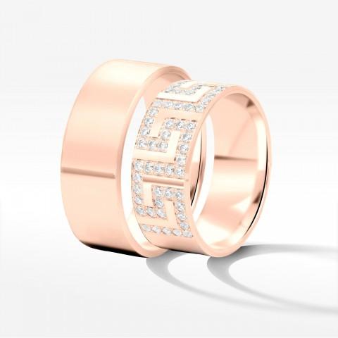 Obrączki ślubne z różowego złota 8mm fazowane