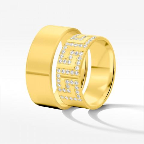 Obrączki ślubne z żółtego złota 8mm fazowane