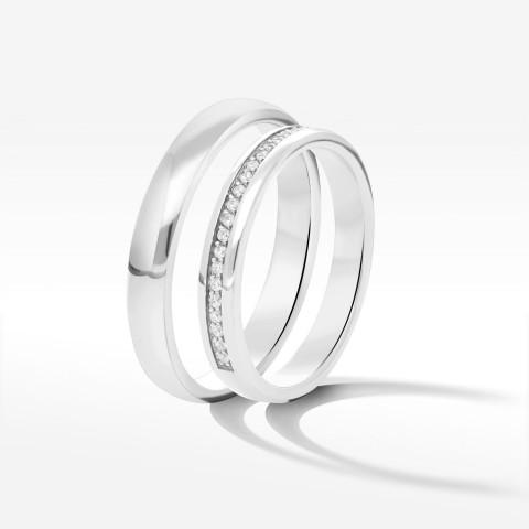 Obrączki ślubne z białego złota 3.3mm półokrągłe