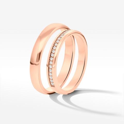 Obrączki ślubne z różowego złota 3.3mm półokrągłe