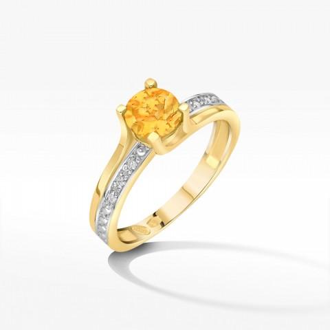 Pierścionek zaręczynowy z cytrynem i brylantami