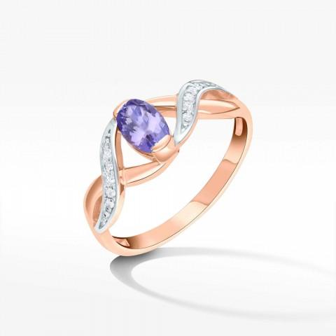 Pierścionek zaręczynowy z różowego złota z tanzanitem