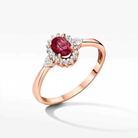 Pierścionek z różowego złota z rubinem i brylantami